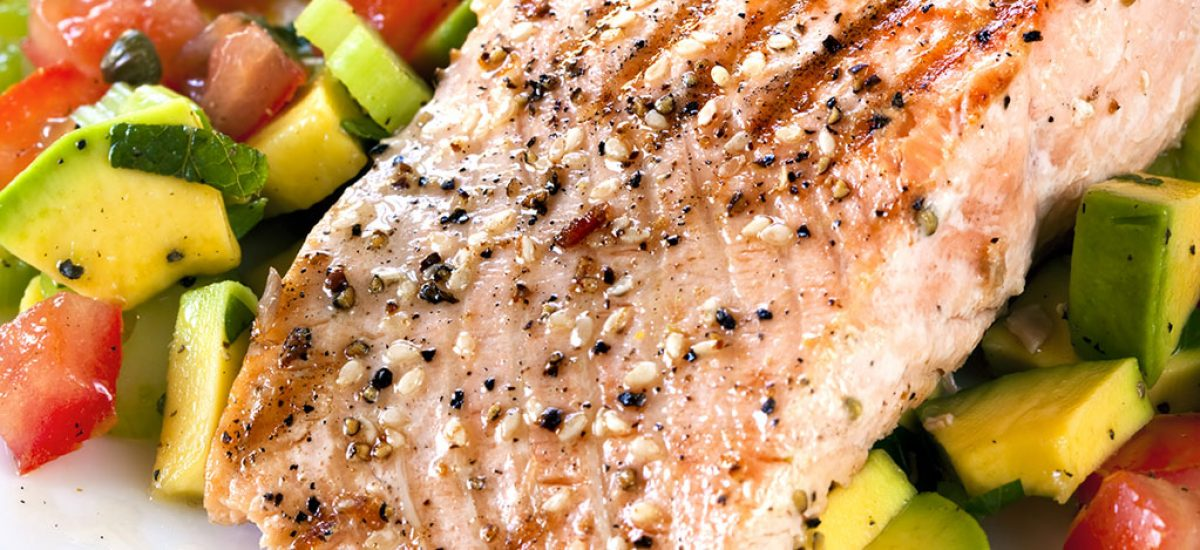 Grilled Atlantic Salmon With Tomato And Avocado Salsa